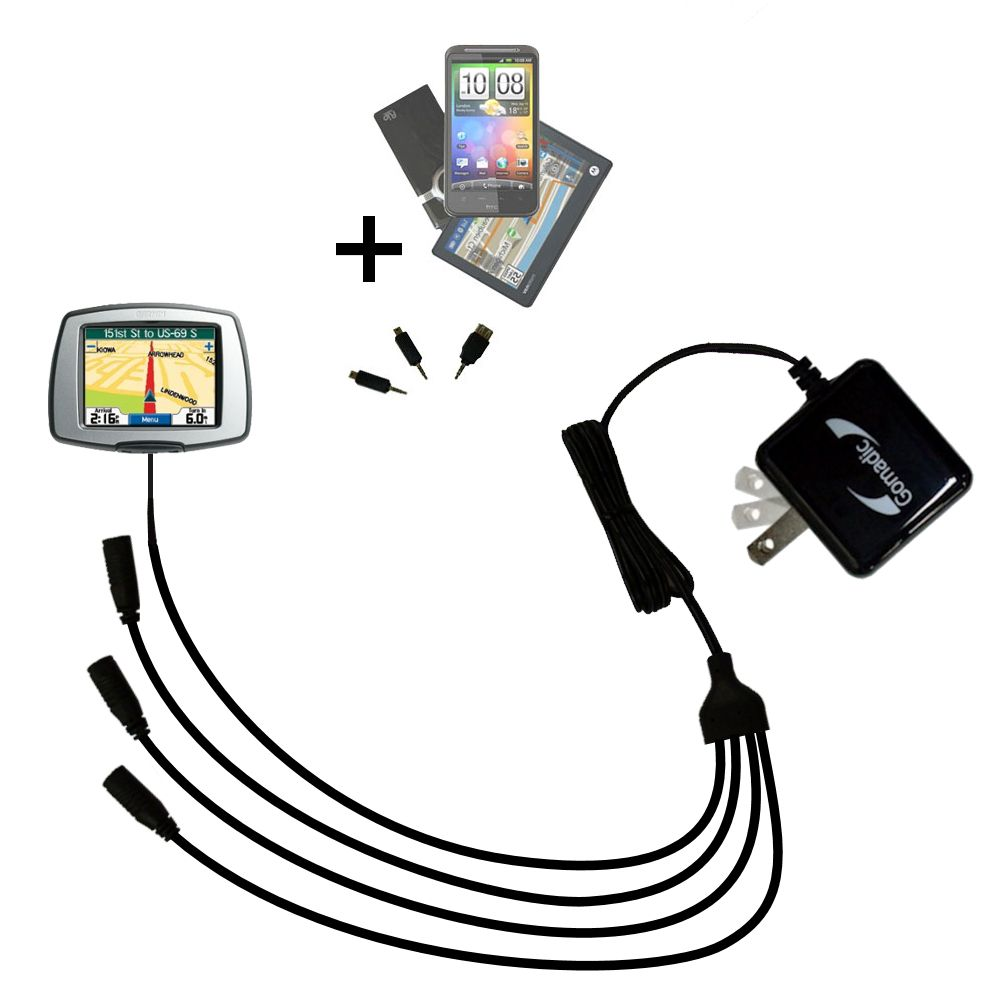 Unique Gomadic 4-Port Intelligent Compact AC Home Wall Charger suitable for the Garmin StreetPilot C340 - High output power with a convenient and foldable plug design - Uses TipExchange Technology