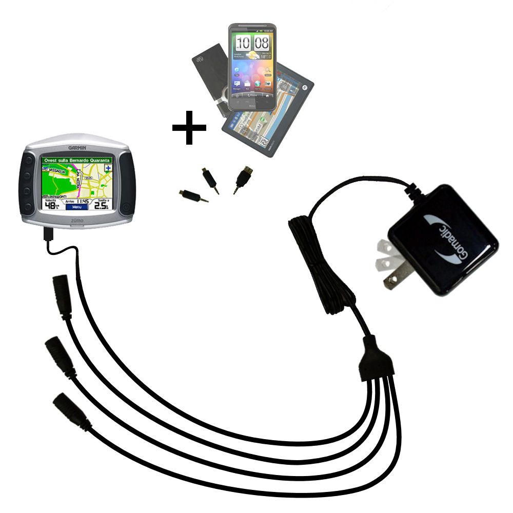 Quad output Wall Charger includes tip for the Garmin Zumo 500