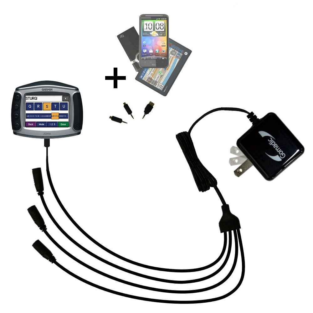 Quad output Wall Charger includes tip for the Garmin Zumo 550