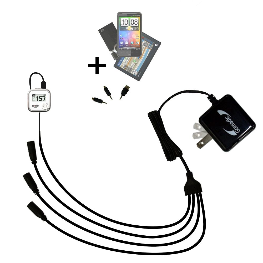 Quad output Wall Charger includes tip for the Golf Buddy Voice GPS Rangefinder