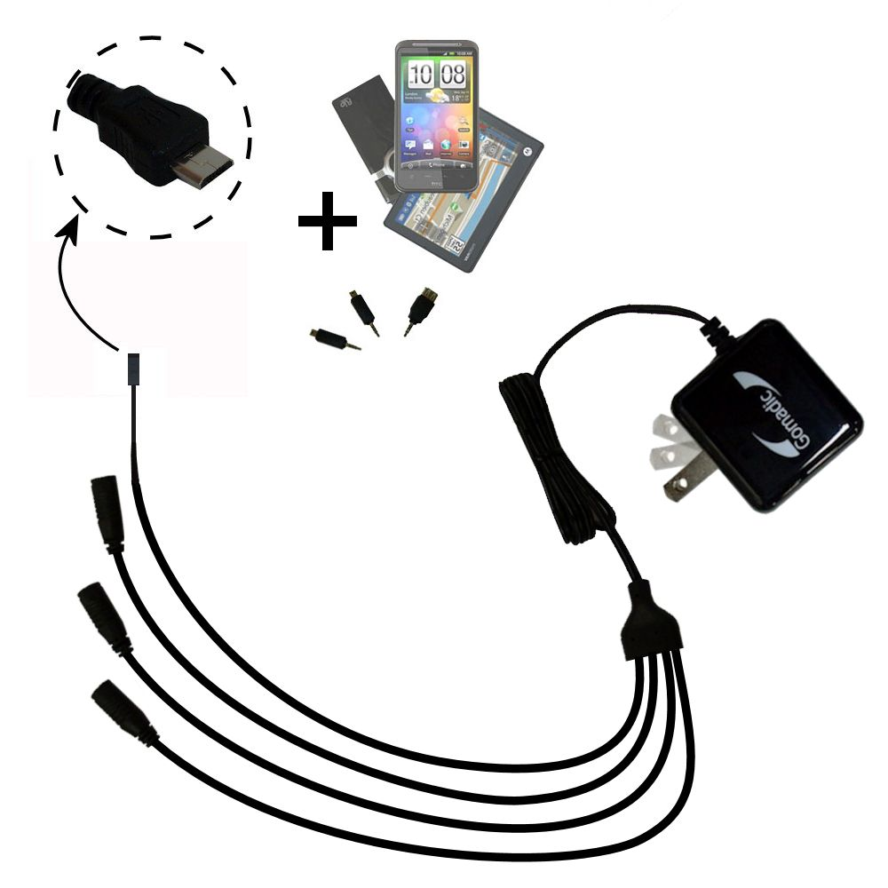 Quad output Wall Charger includes tip for the Gomadic micro USB Devices
