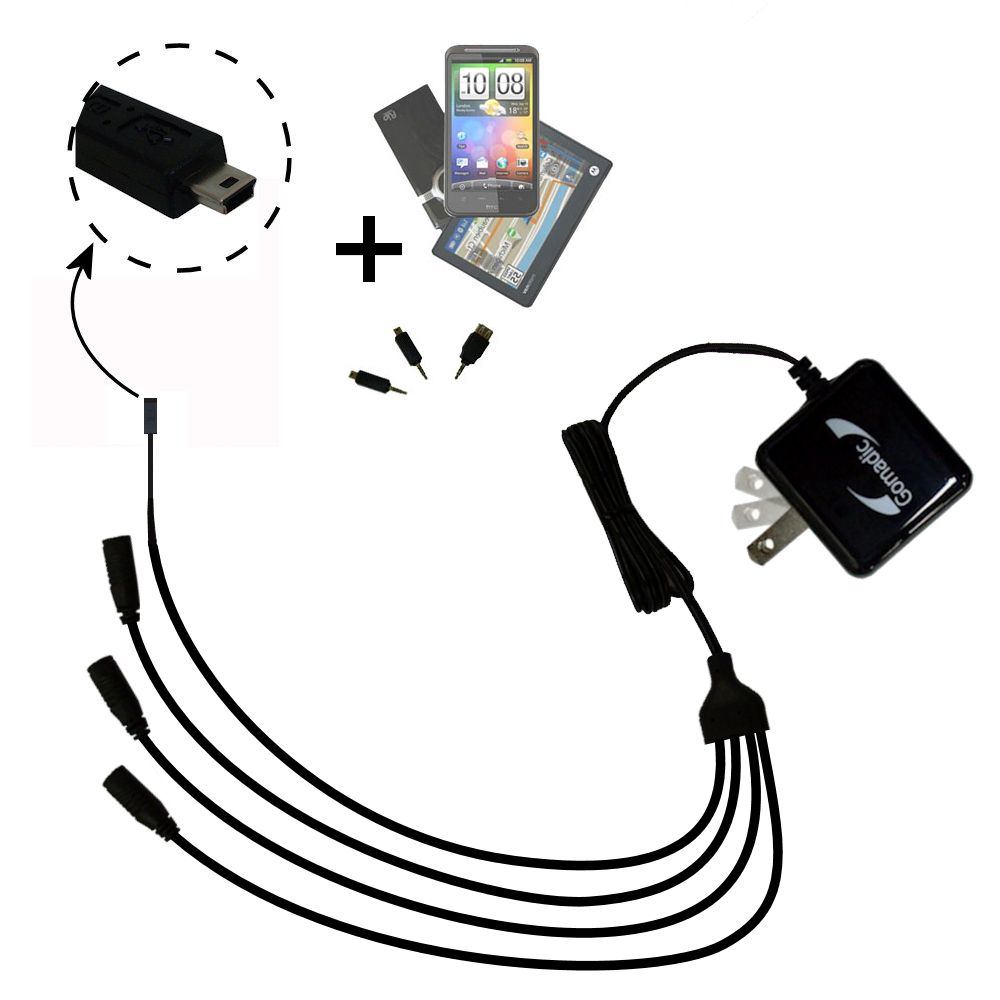 Quad output Wall Charger includes tip for the Gomadic mini USB Devices
