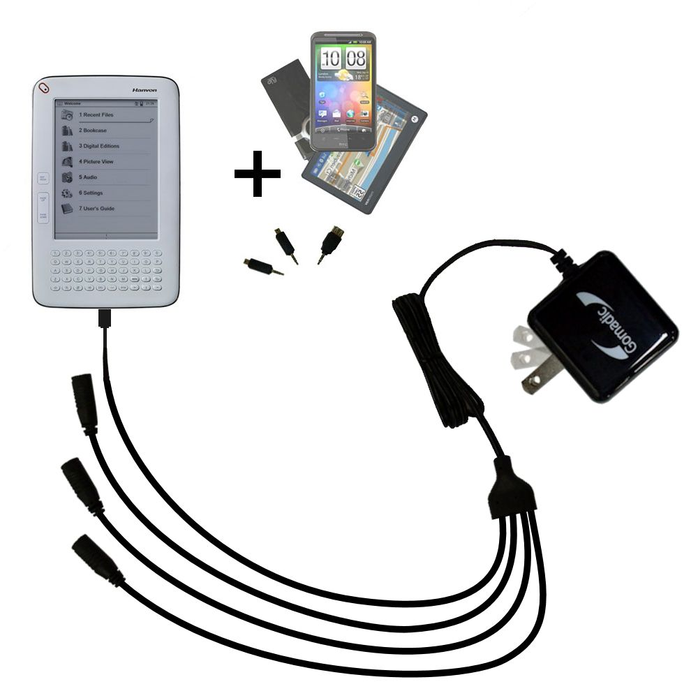 Quad output Wall Charger includes tip for the Hanvon WISEreader B630