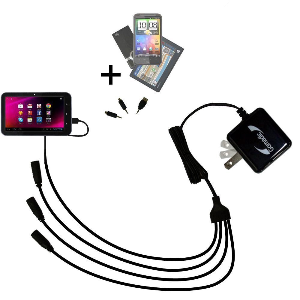 Quad output Wall Charger includes tip for the HKC 7 Tablet P771A