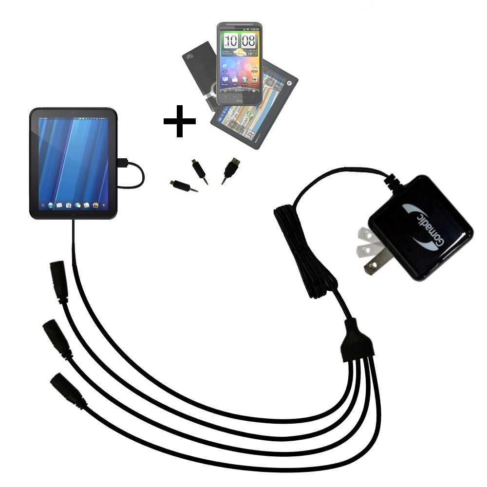 Quad output Wall Charger includes tip for the HP TouchPad