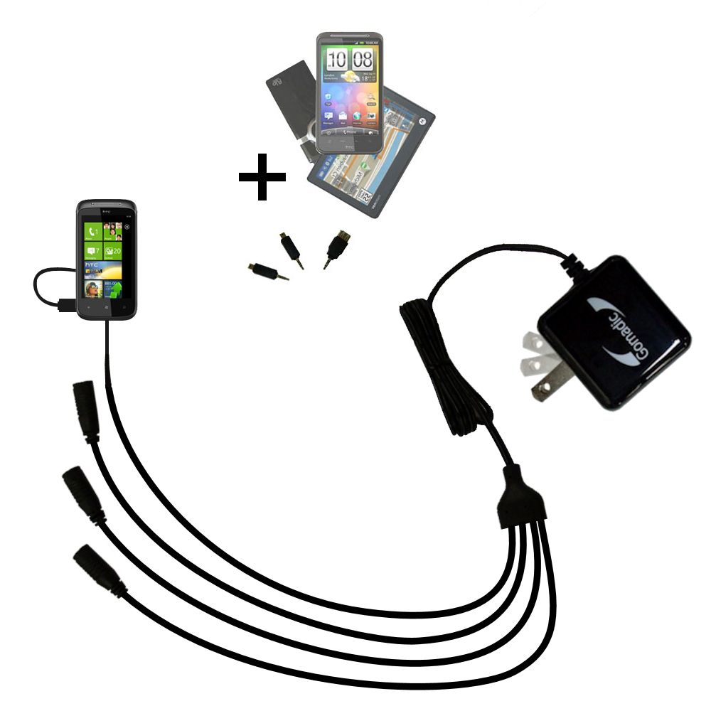 Quad output Wall Charger includes tip for the HTC 7 Trophy