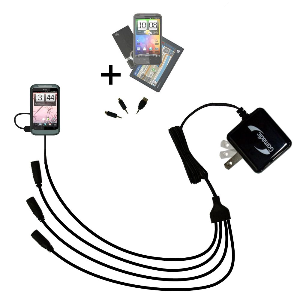 Quad output Wall Charger includes tip for the HTC Bliss