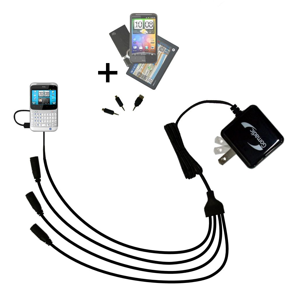 Quad output Wall Charger includes tip for the HTC ChaCha