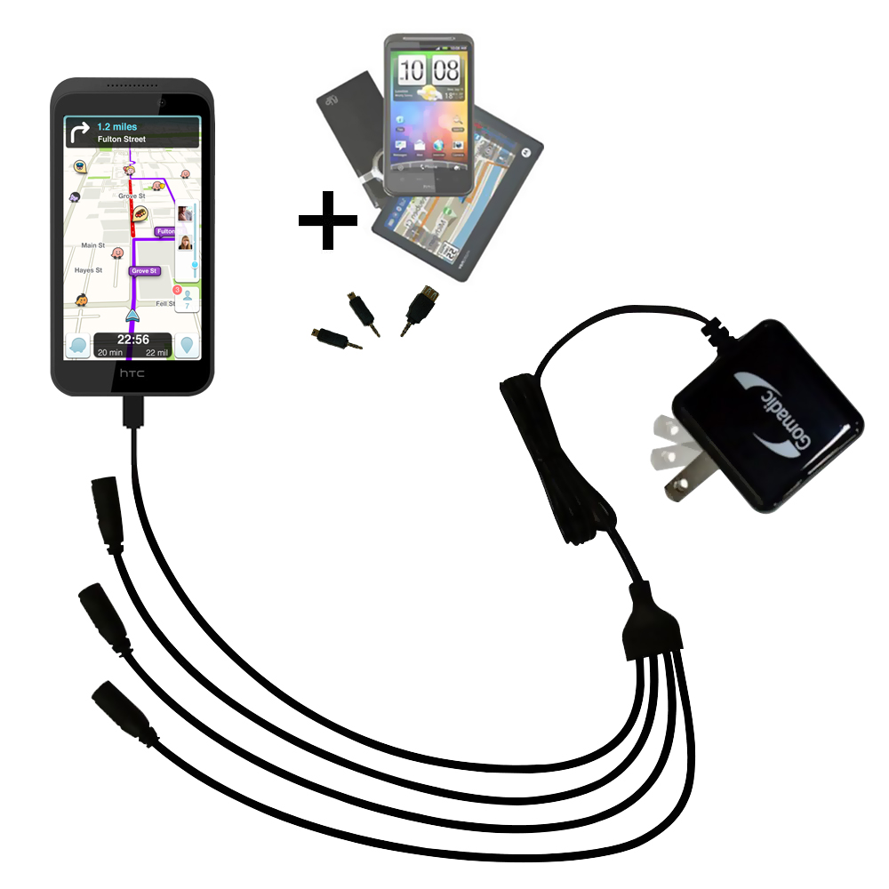 Quad output Wall Charger includes tip for the HTC Desire 320