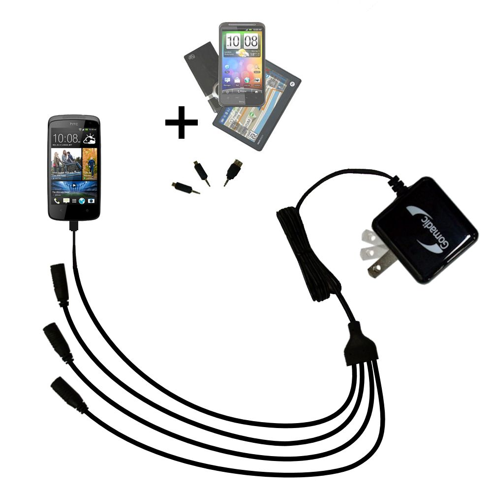 Quad output Wall Charger includes tip for the HTC Desire 500