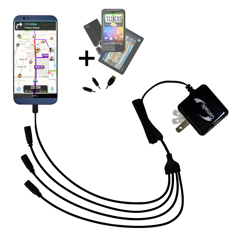 Quad output Wall Charger includes tip for the HTC Desire 510