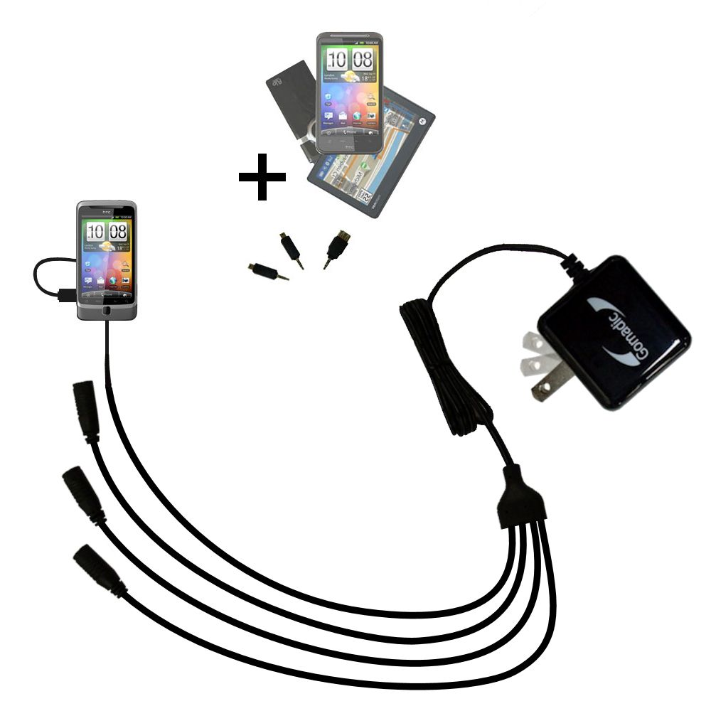 Quad output Wall Charger includes tip for the HTC Desire Z