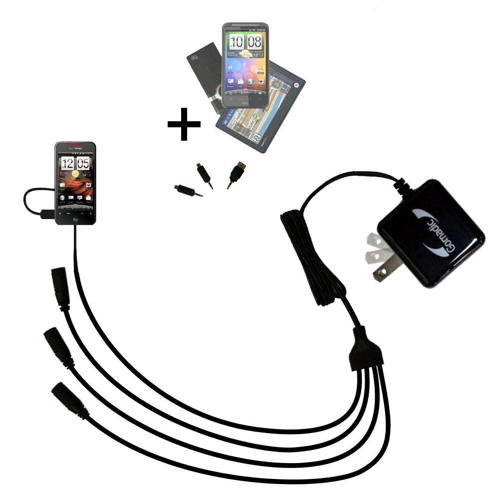 Quad output Wall Charger includes tip for the HTC DROID Incredible