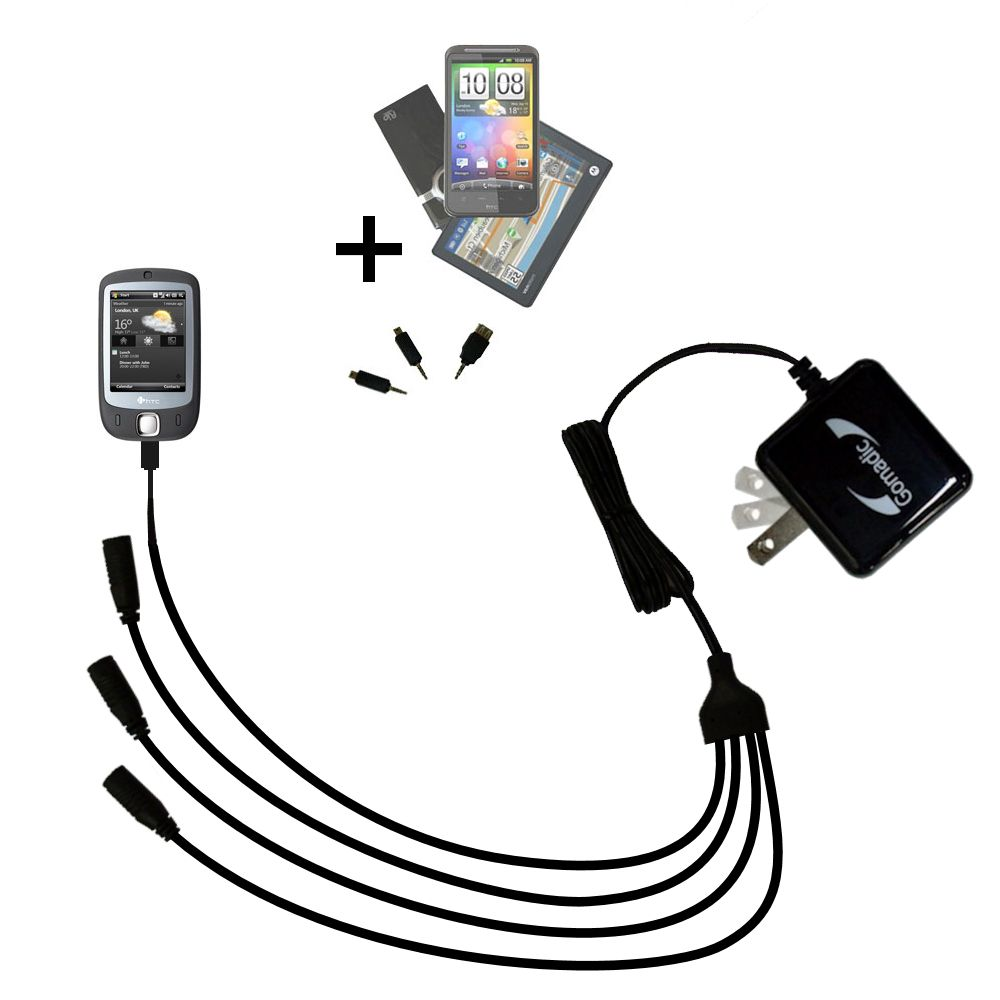 Quad output Wall Charger includes tip for the HTC ELF