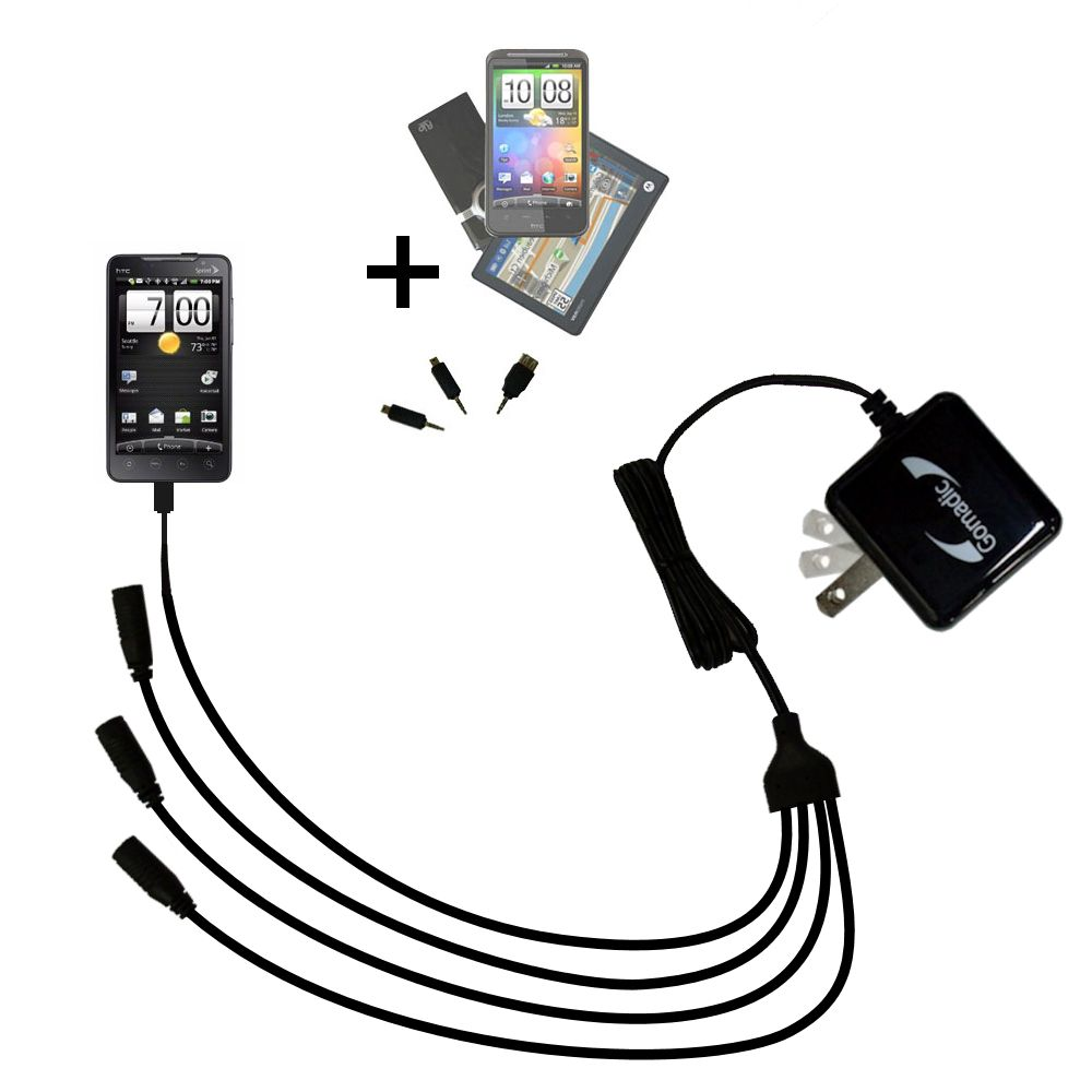 Quad output Wall Charger includes tip for the HTC EVO 4G