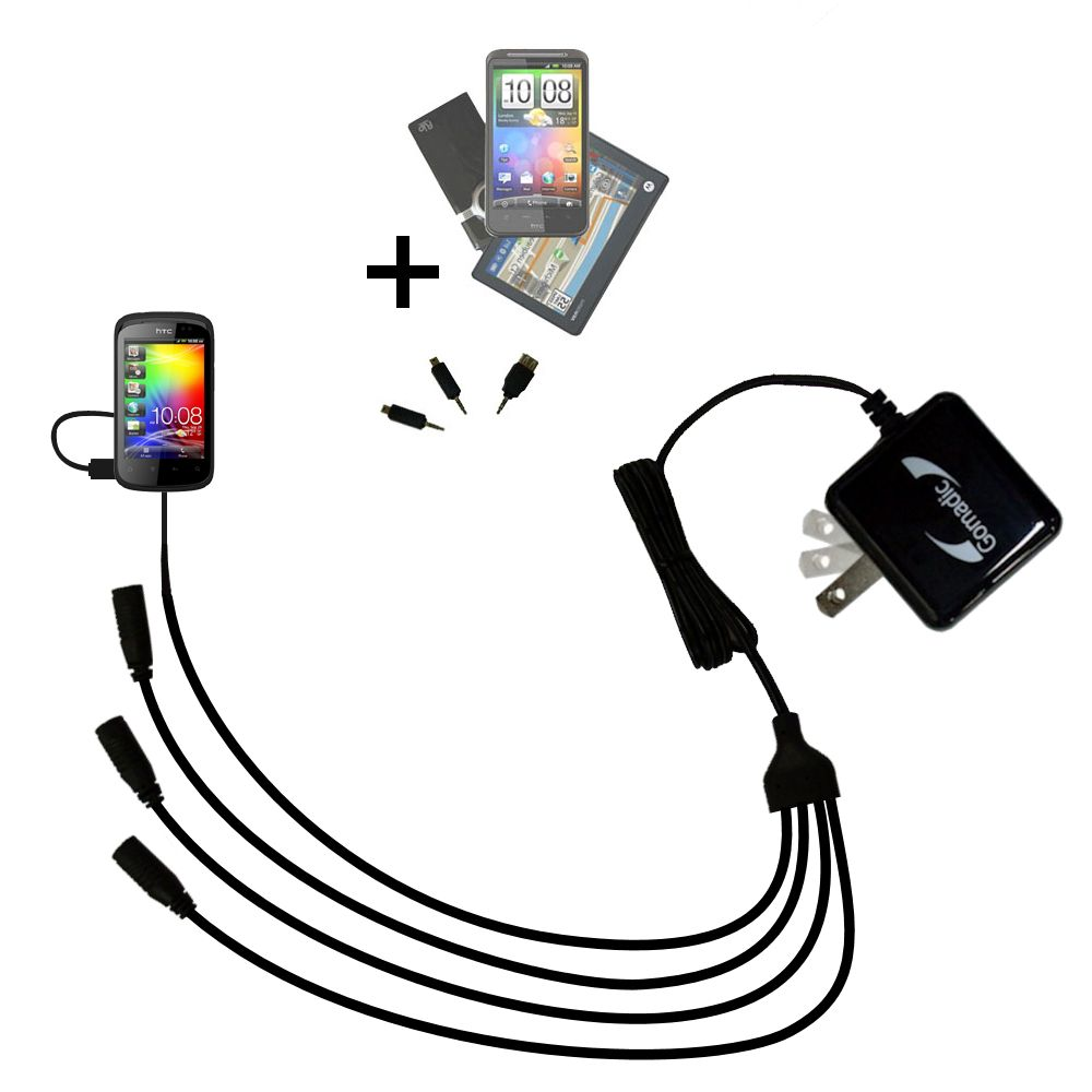 Quad output Wall Charger includes tip for the HTC Explorer