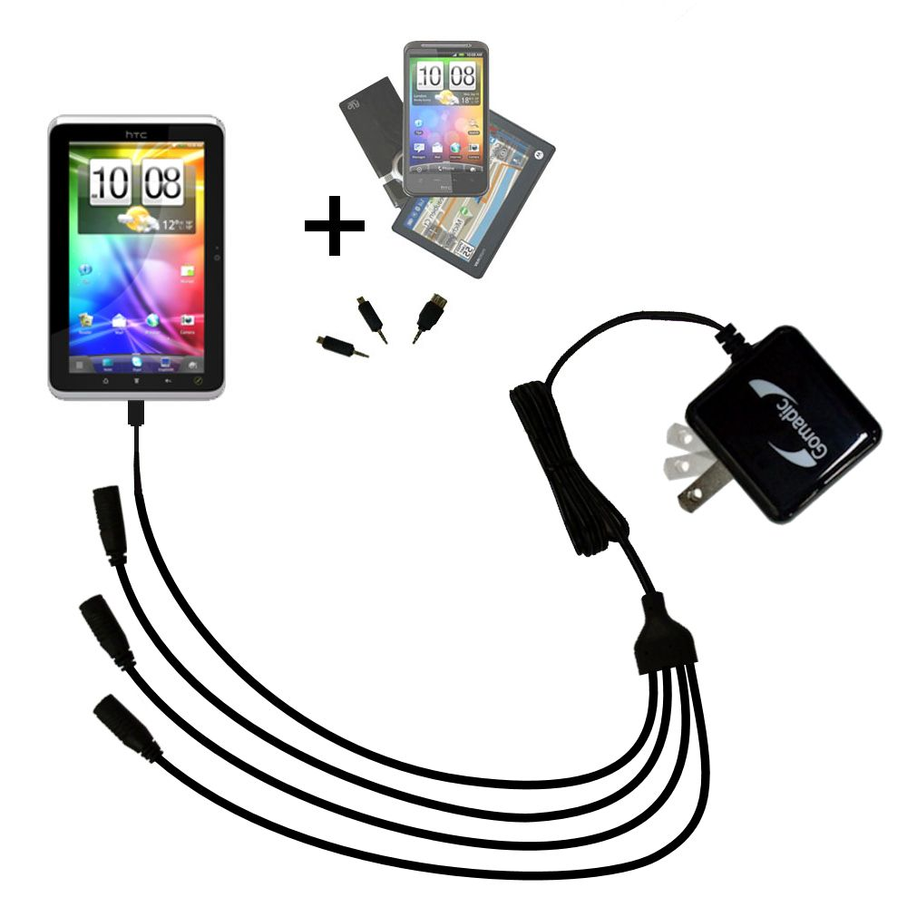 Quad output Wall Charger includes tip for the HTC Flyer