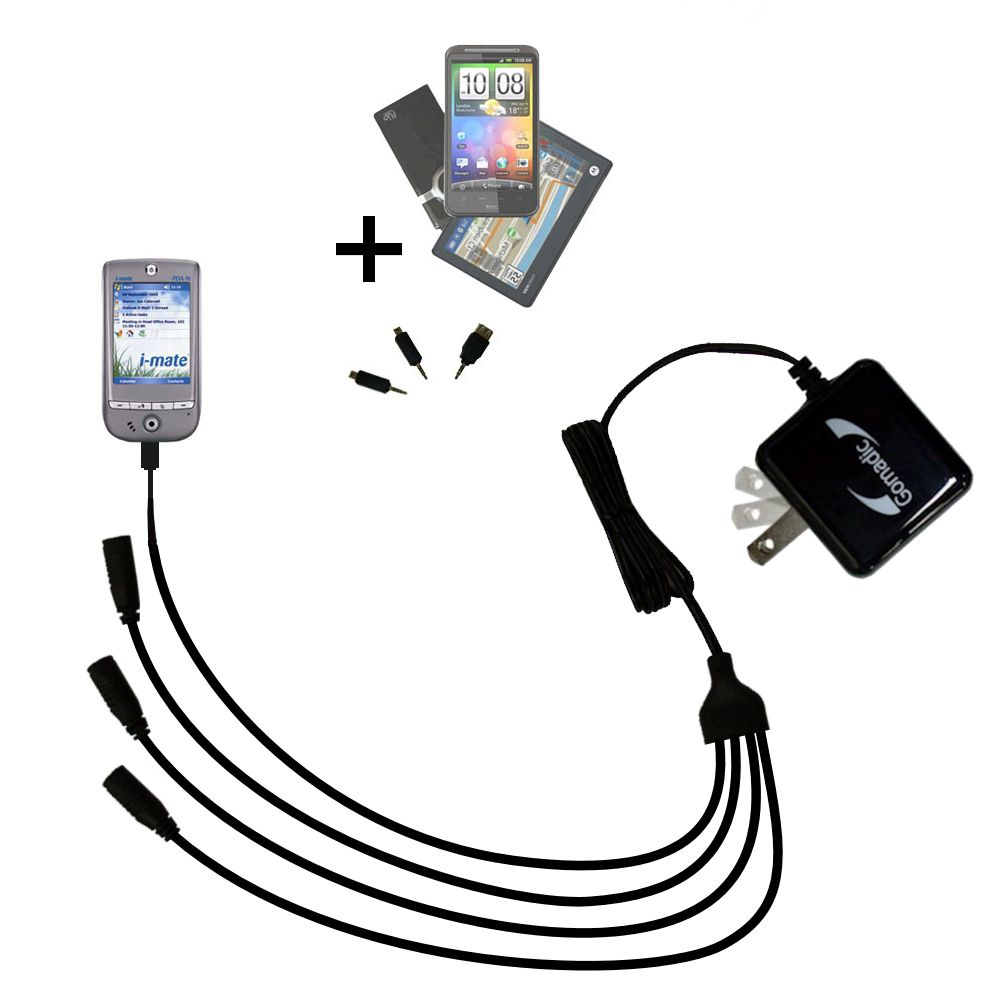 Quad output Wall Charger includes tip for the HTC Galaxy