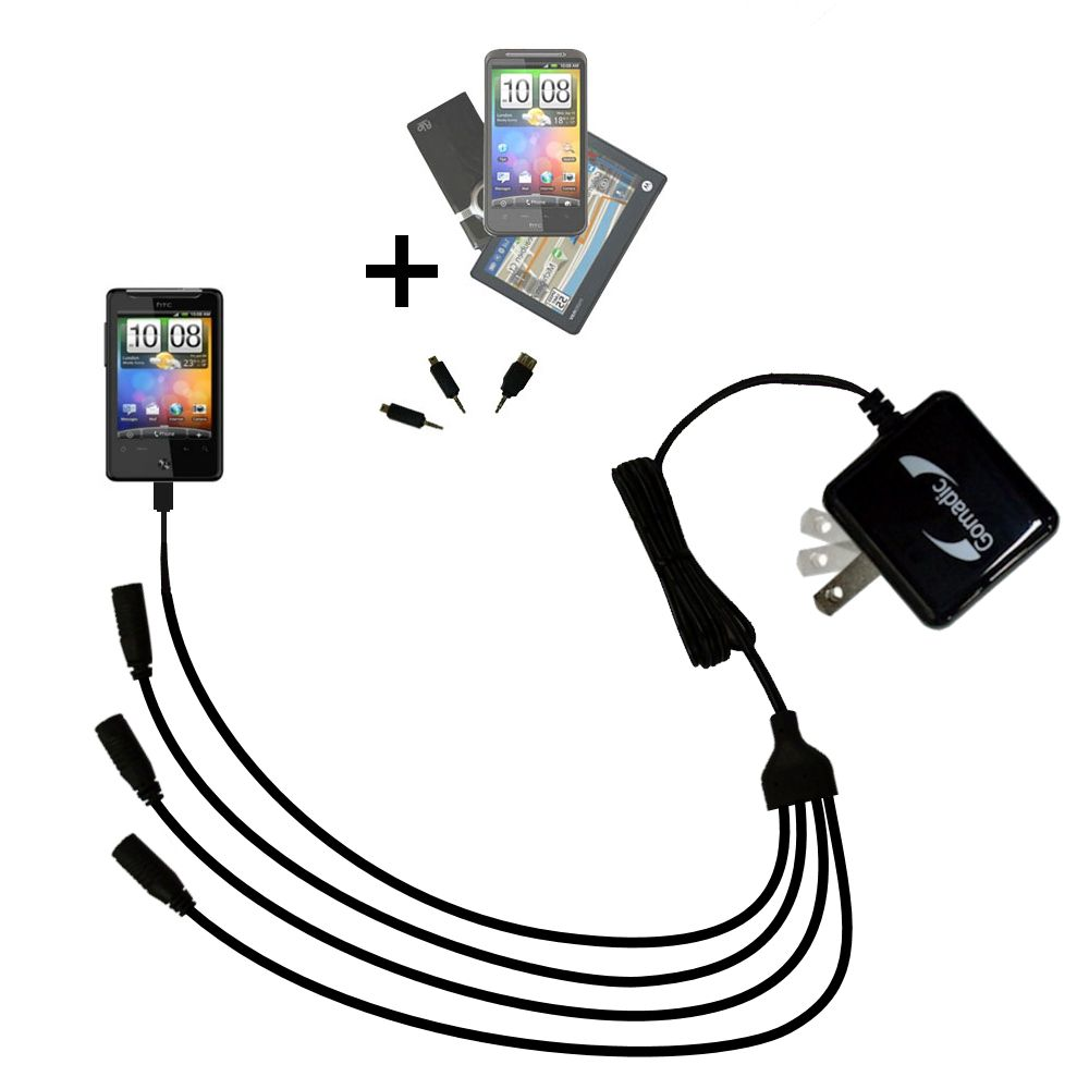Quad output Wall Charger includes tip for the HTC Gratia