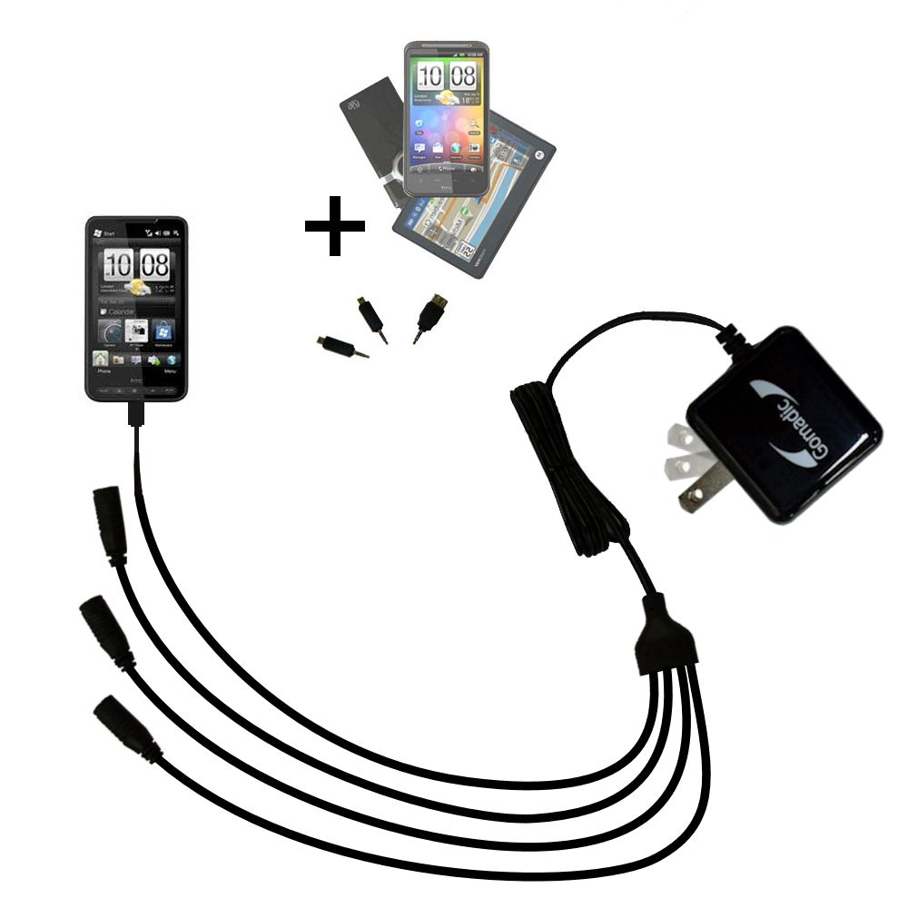 Quad output Wall Charger includes tip for the HTC HD2