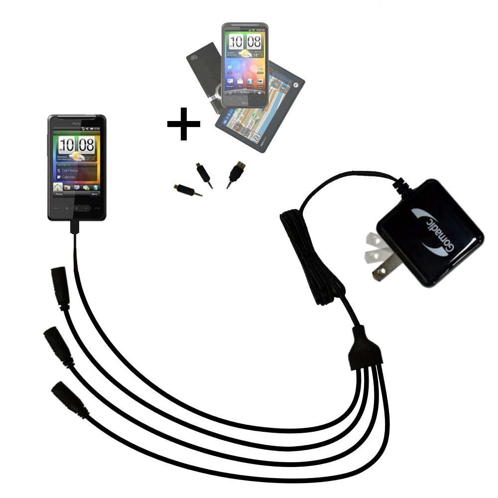 Quad output Wall Charger includes tip for the HTC HTC 7 Surround