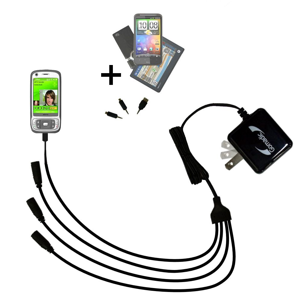 Quad output Wall Charger includes tip for the HTC Kaiser