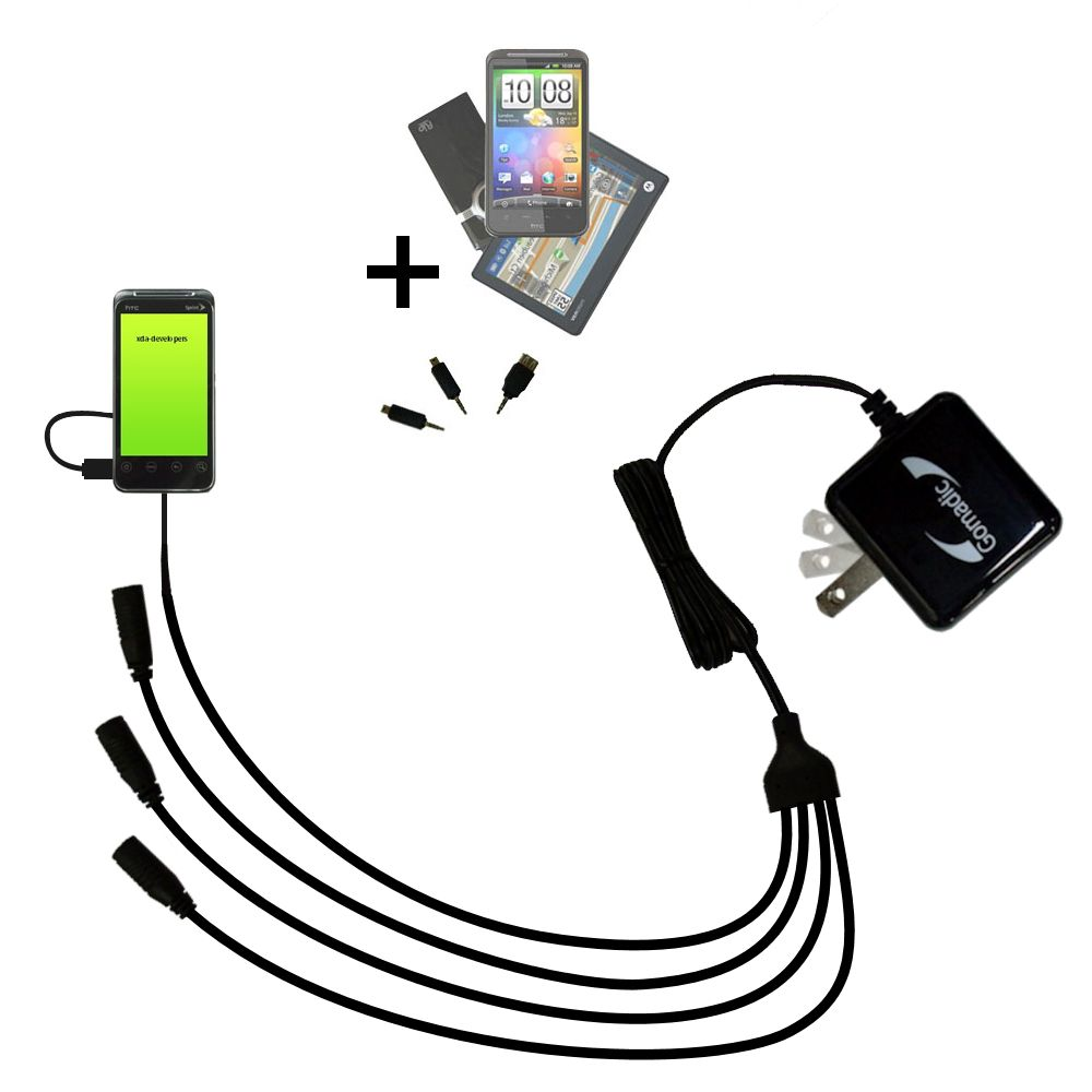 Quad output Wall Charger includes tip for the HTC Knight