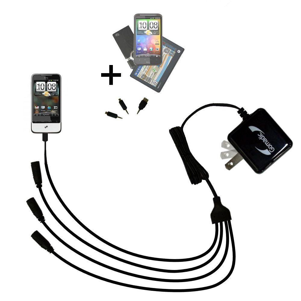 Quad output Wall Charger includes tip for the HTC Legend