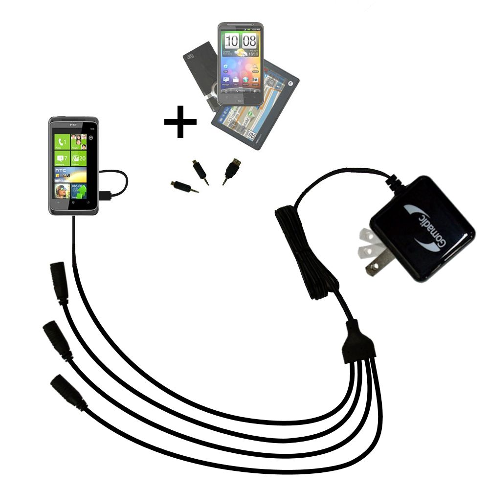Quad output Wall Charger includes tip for the HTC Mazaa