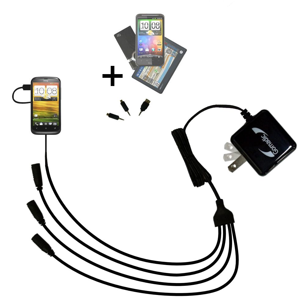 Quad output Wall Charger includes tip for the HTC One S / Ville