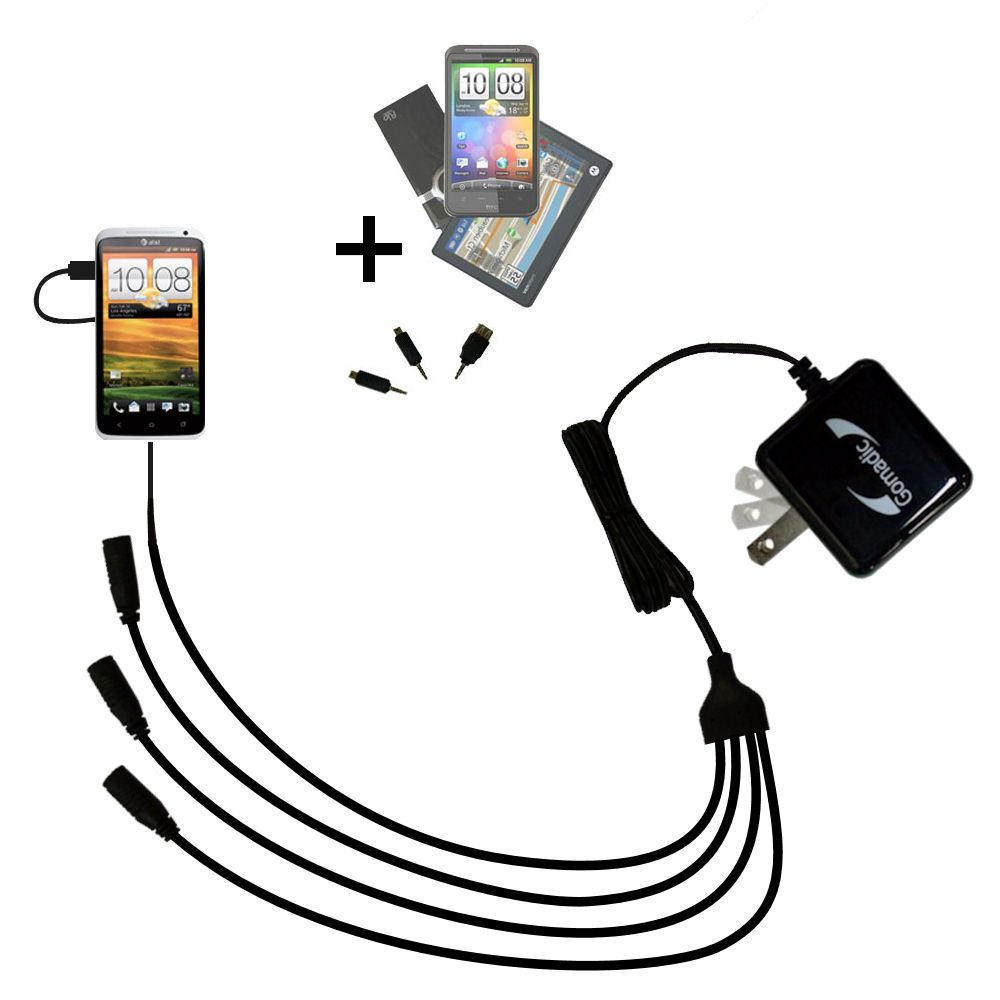 Quad output Wall Charger includes tip for the HTC One X