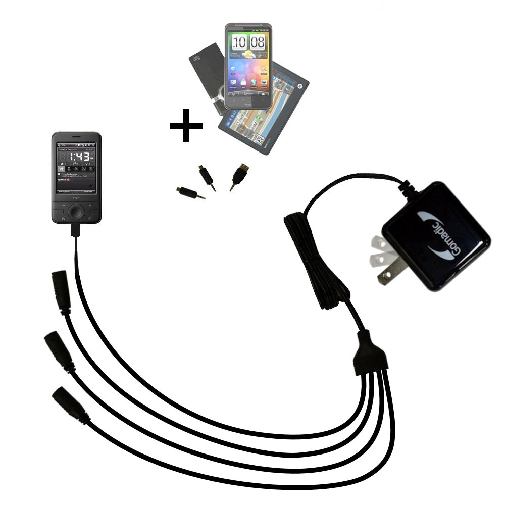 Quad output Wall Charger includes tip for the HTC P3470