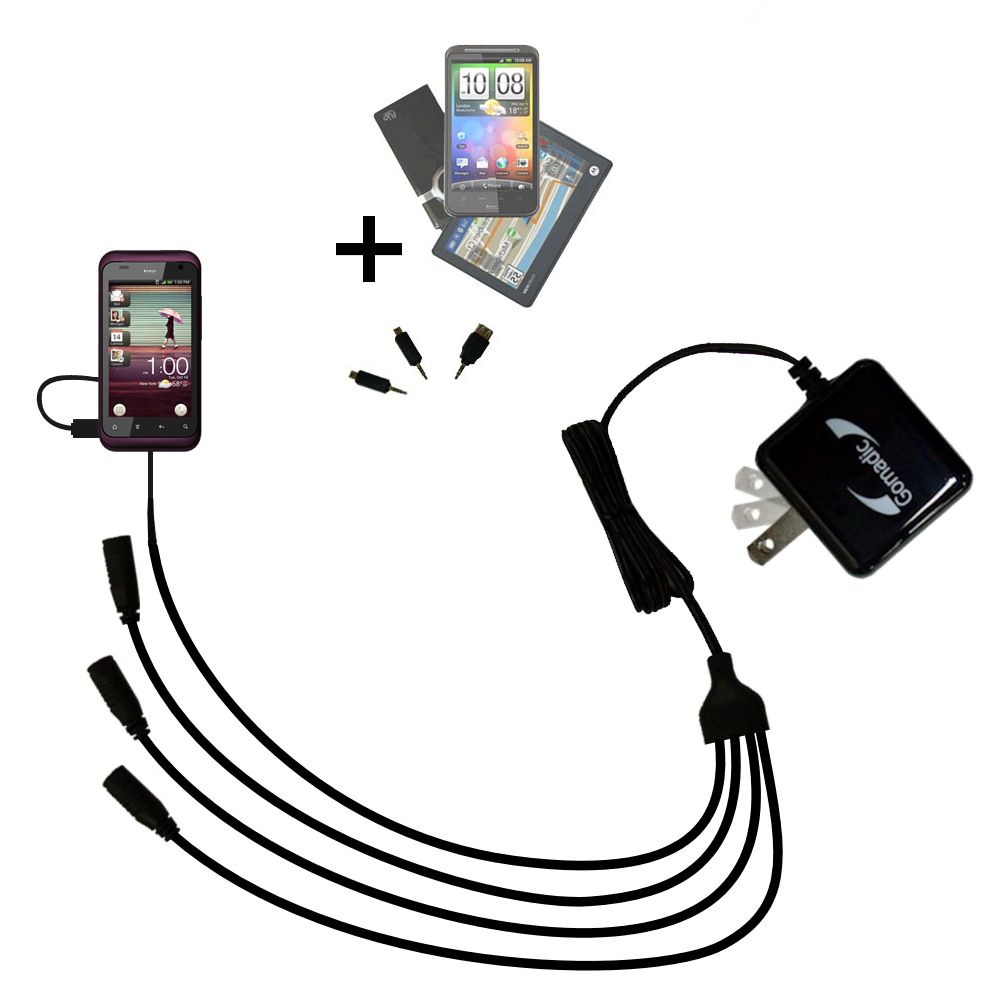 Quad output Wall Charger includes tip for the HTC Rhyme