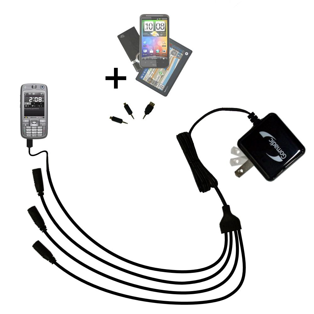 Quad output Wall Charger includes tip for the HTC S730