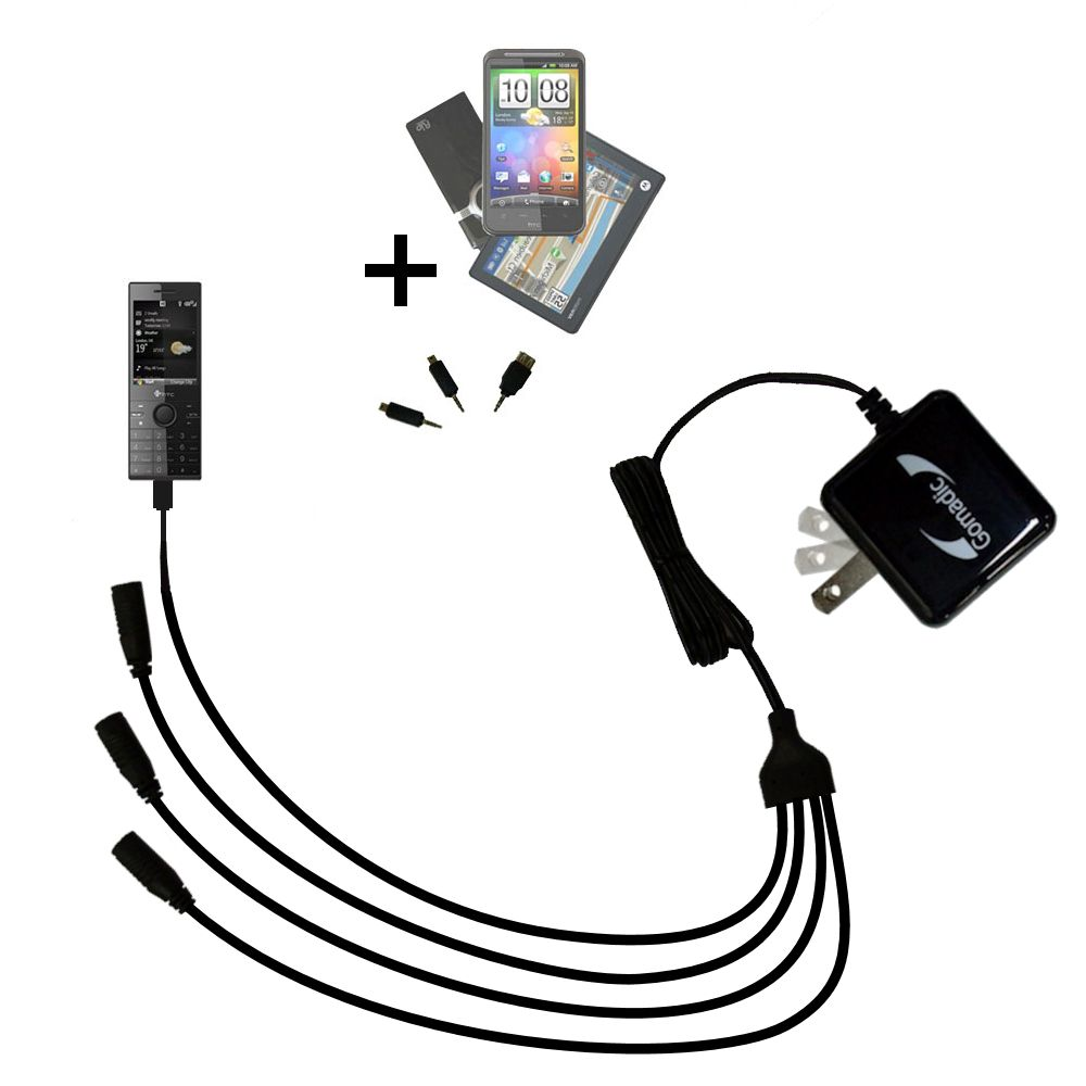 Quad output Wall Charger includes tip for the HTC S740 S730 S720 S710