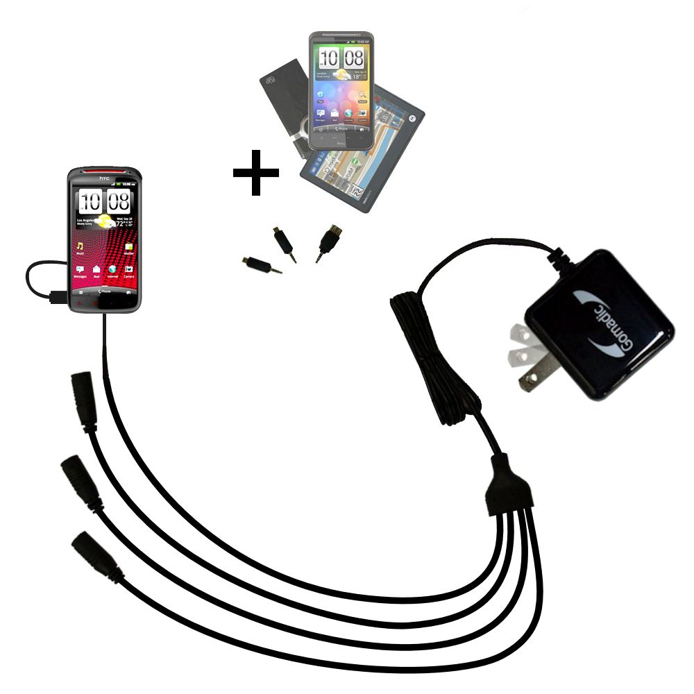 Quad output Wall Charger includes tip for the HTC Sensation XE