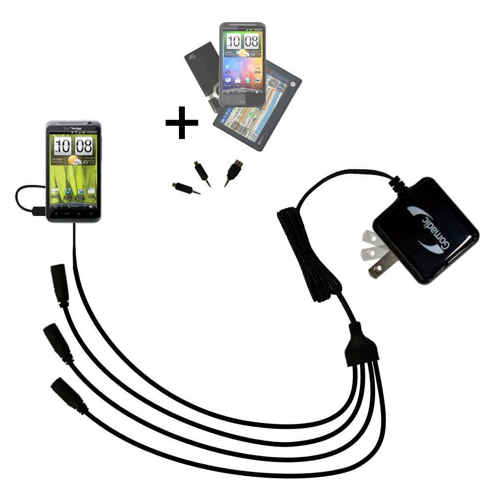 Quad output Wall Charger includes tip for the HTC Thunderbolt