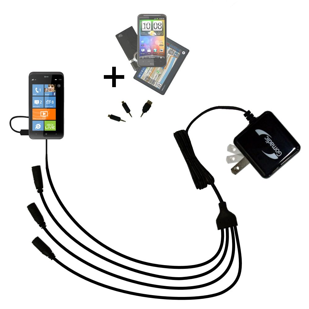 Quad output Wall Charger includes tip for the HTC Titan II