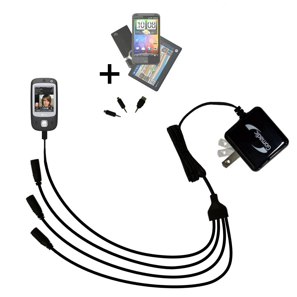 Quad output Wall Charger includes tip for the HTC Touch Dual