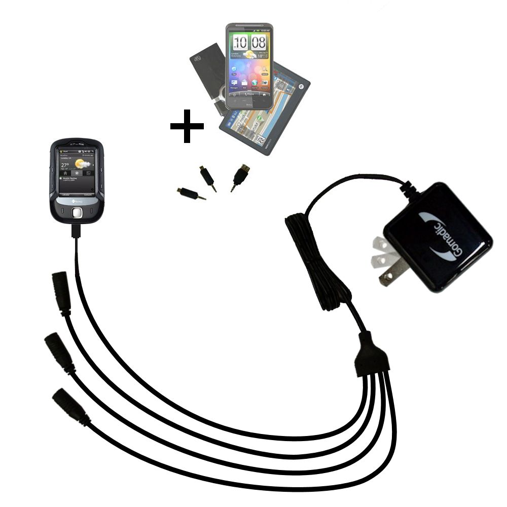 Quad output Wall Charger includes tip for the HTC Touch