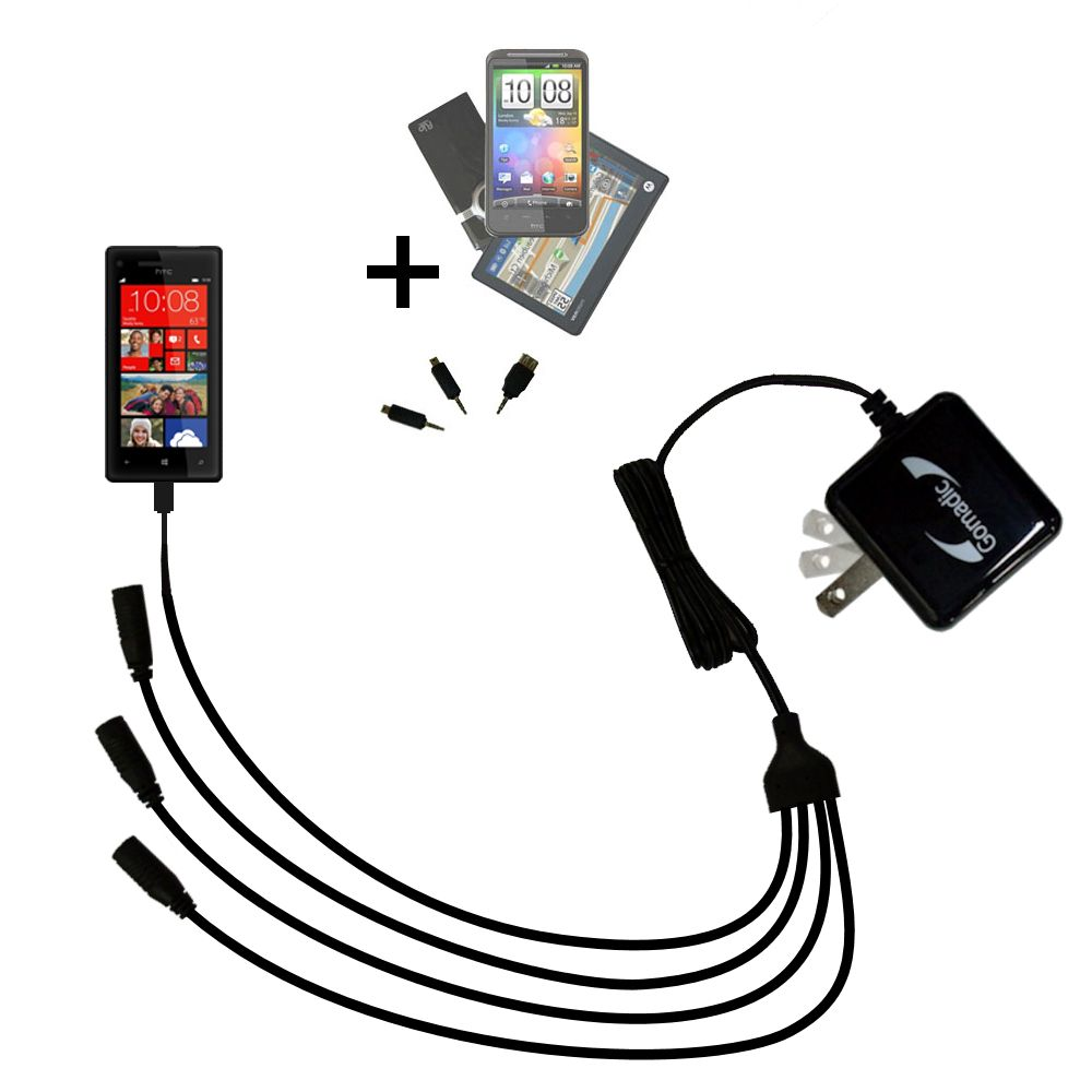 Quad output Wall Charger includes tip for the HTC Windows Phone 8x