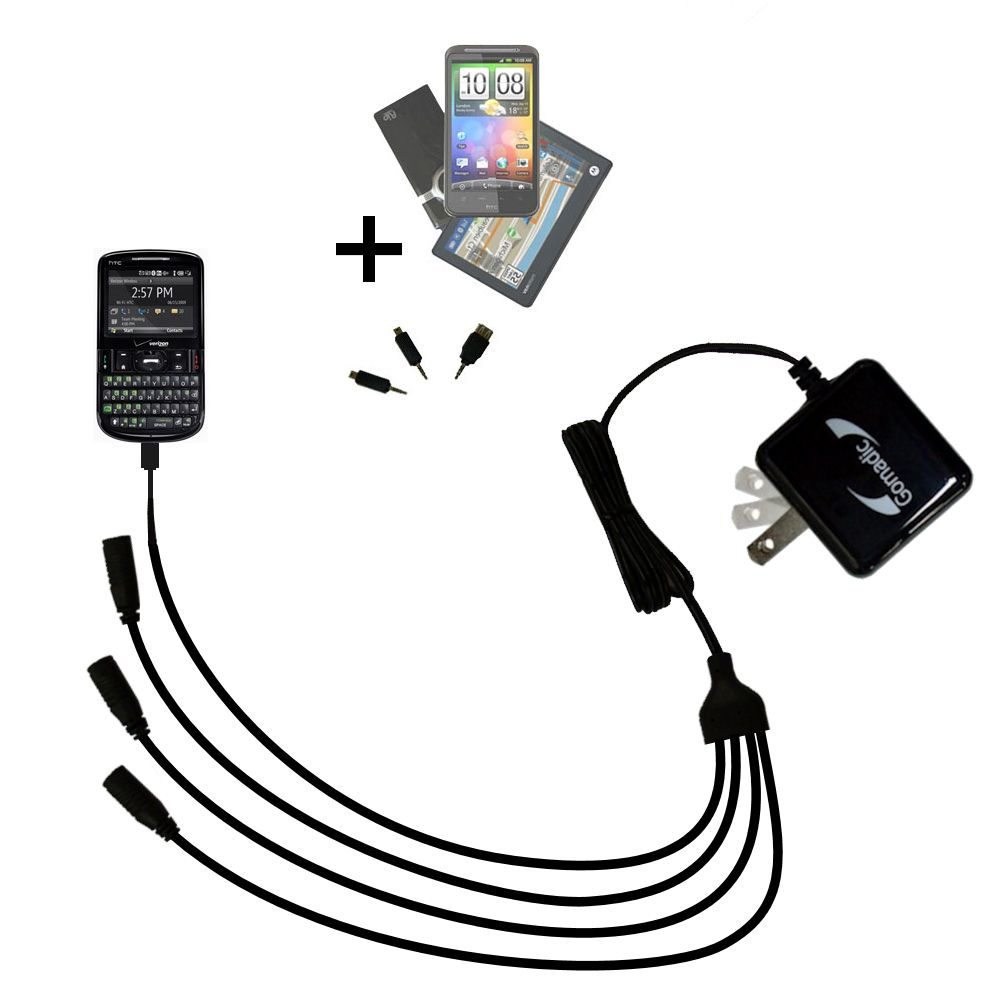 Quad output Wall Charger includes tip for the HTC XV6175
