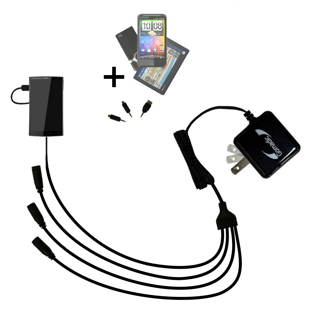 Quad output Wall Charger includes tip for the HTC Zeta