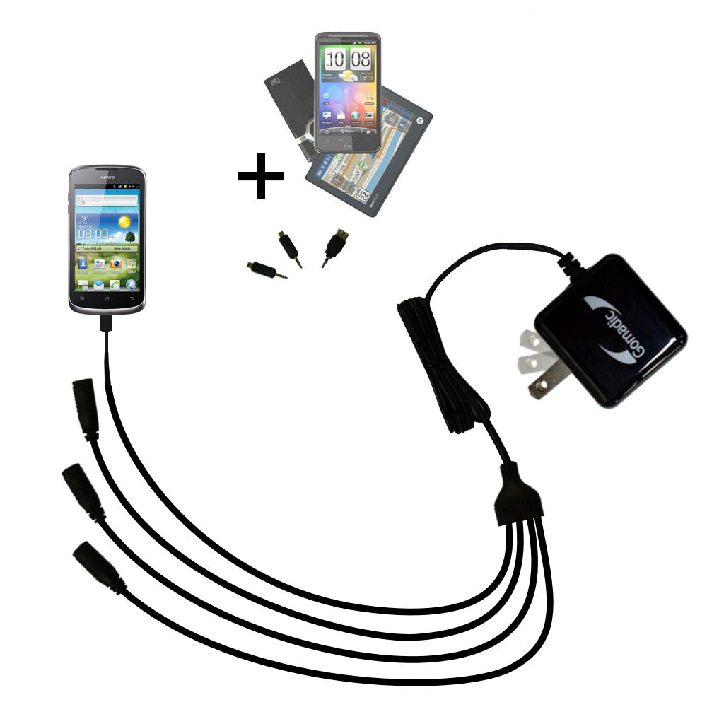 Quad output Wall Charger includes tip for the Huawei U8815
