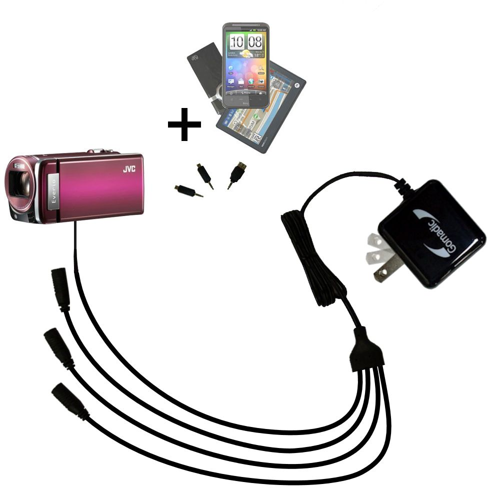 Quad output Wall Charger includes tip for the JVC Everio GZ-HM880 / HM890