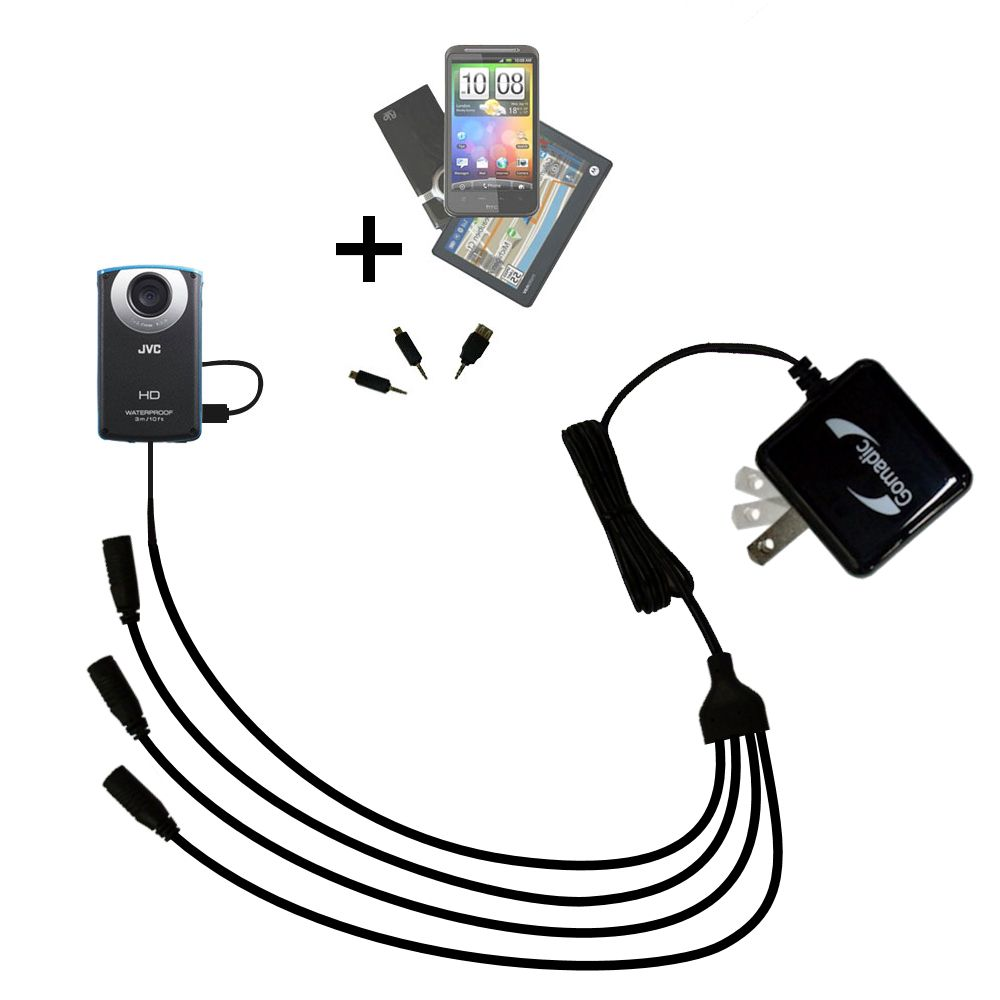 Quad output Wall Charger includes tip for the JVC GC-WP10 Waterproof Camera