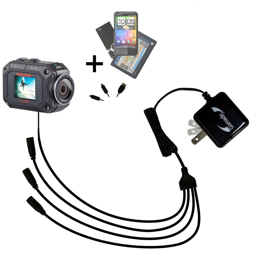 Quad output Wall Charger includes tip for the JVC GC-XA2 Action Camera