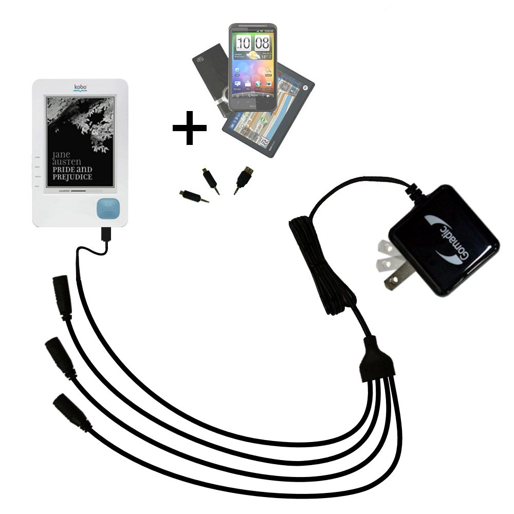 Quad output Wall Charger includes tip for the Kobo eReader