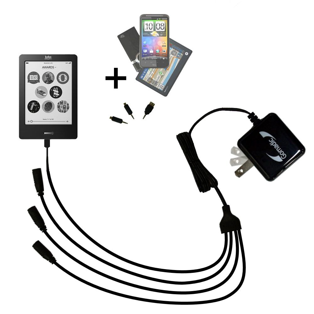 Quad output Wall Charger includes tip for the Kobo eReader Touch