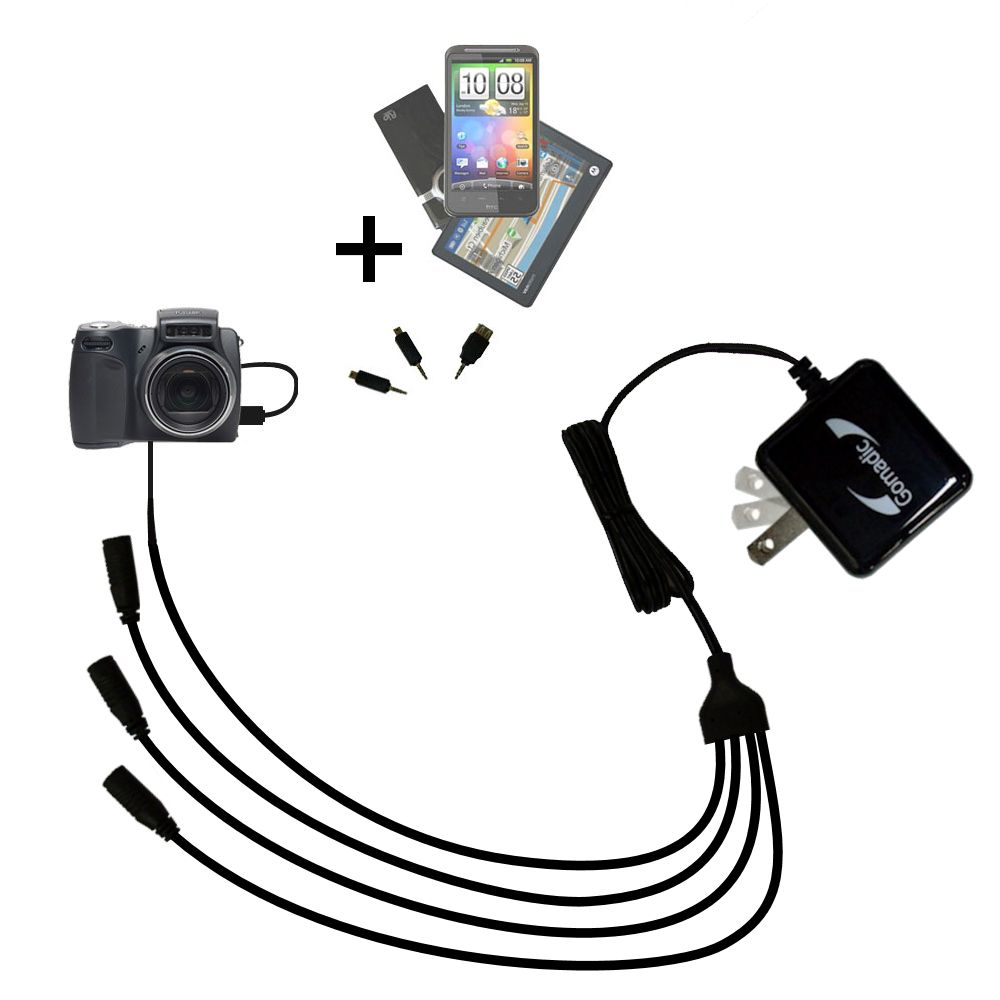 Quad output Wall Charger includes tip for the Kodak DX6490